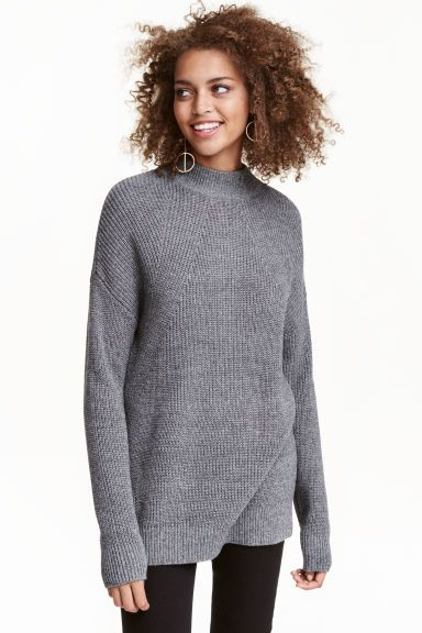 Camisola em malha meia gola - Cinzento escuro - SENHORA | H&M PT 1