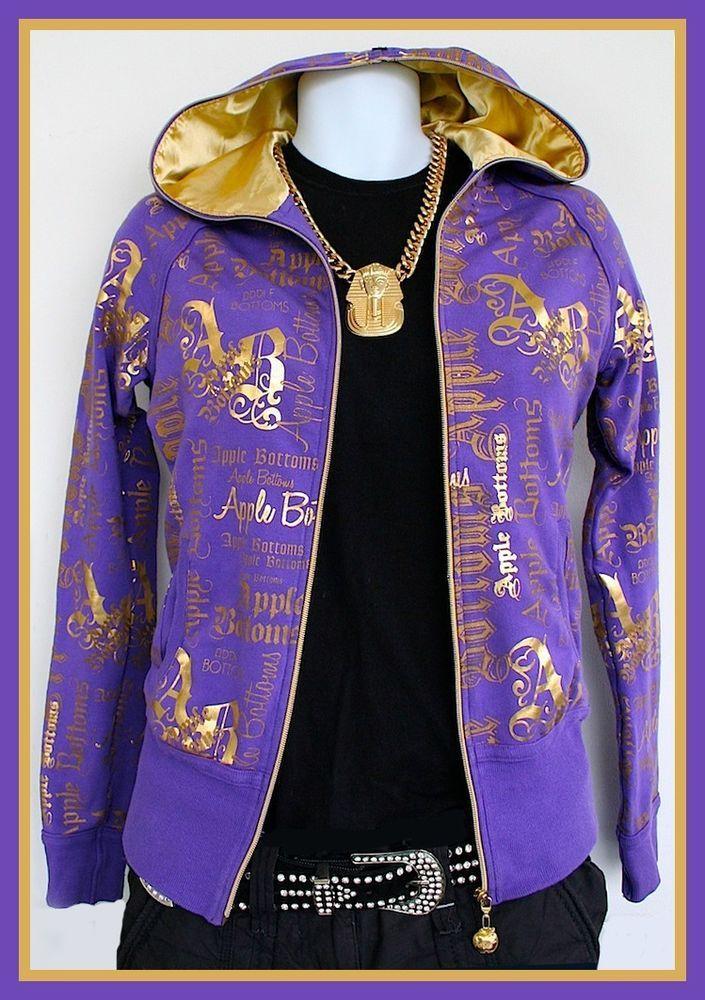 APPLE BOTTOMS Purple/Gold Ladies hoodie Sz S-M Hip Hop Urban