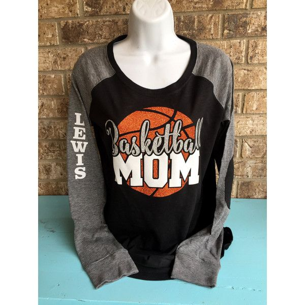Basketball Mom Shirt Customized Glitter Basketball Shirt Long Sleeve... ($39) ❤ liked on Polyvore featuring tops, t-shirts, white, women's clothing, long sleeve shirts, white long sleeve tee, checkered shirt, white shirt and glitter shirt
