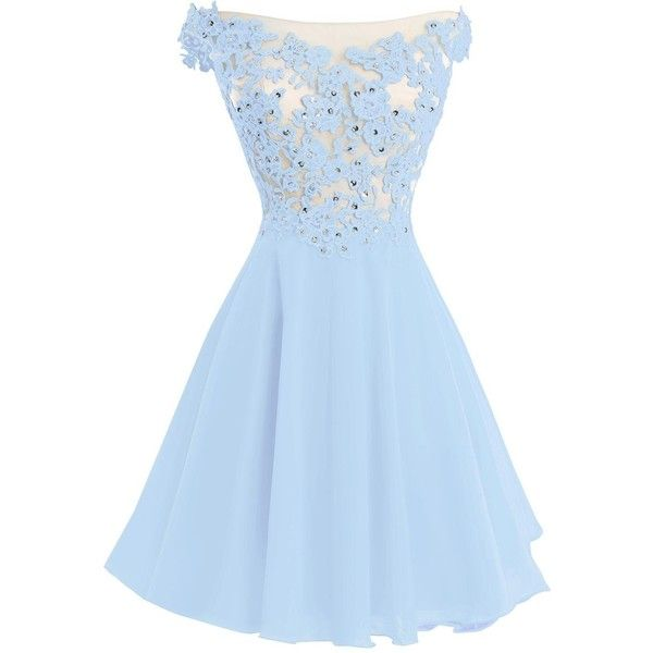VP Women s Lace Short Prom Gown Homecoming Party Dress with Straps ($80) ❤ liked on Polyvore featuring dresses, blue lace cocktail dress, blue dress, lace prom dresses, homecoming dresses and blue cocktail dress