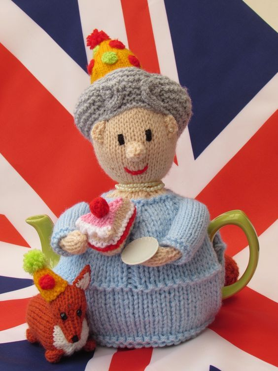 Happy Birthday Queen Elizabeth! Buy your knitted tea cosy here http://www.teacosyfolk.co.uk/Queen's-90th-Birthday-Tea-cosy-p-129.php: