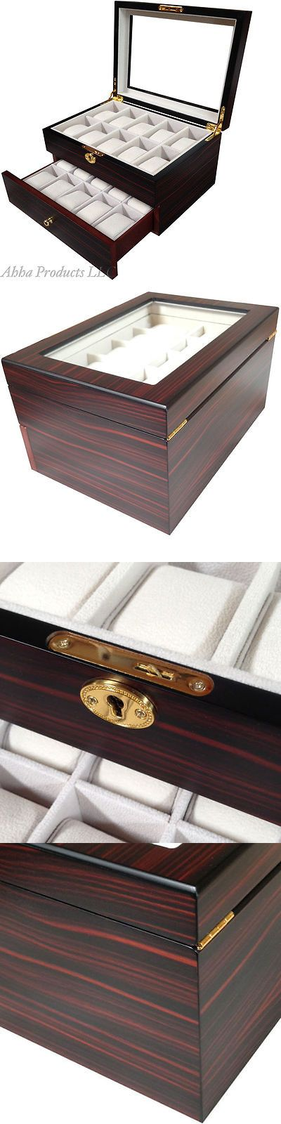 Boxes Cases and Watch Winders 173695: Ebony Walnut Wood Watch Jewelry Glass Display 20 Slots Lock Key Case Storage Box BUY IT NOW ONLY: $79.9