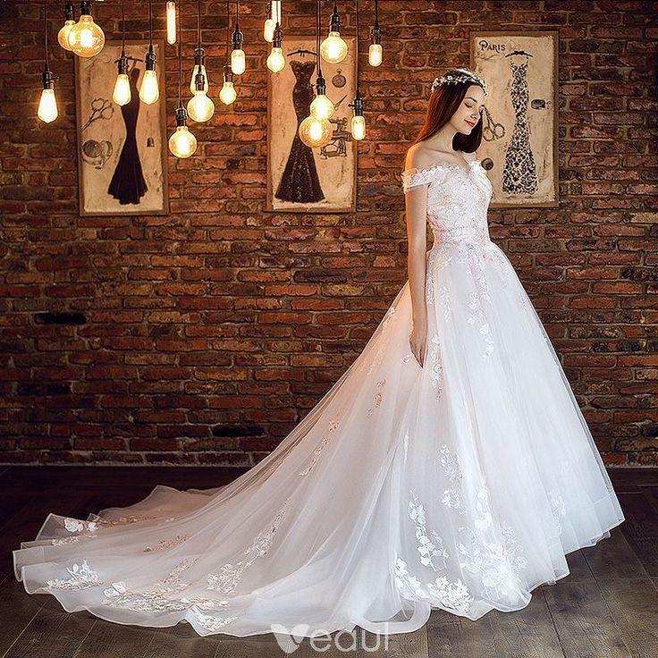 Elegant White Wedding Dresses 2018 A-Line / Princess Off-The-Shoulder Short Sleeve Backless Appliques Lace Ruffle Chapel Train