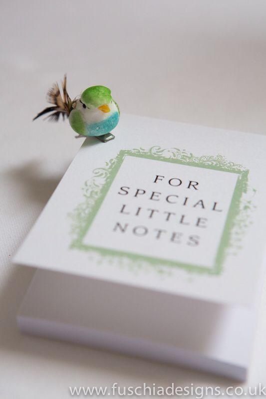 Favour note book in peppermint green with cute bird embellishment. www.fuschiadesigns.co.uk