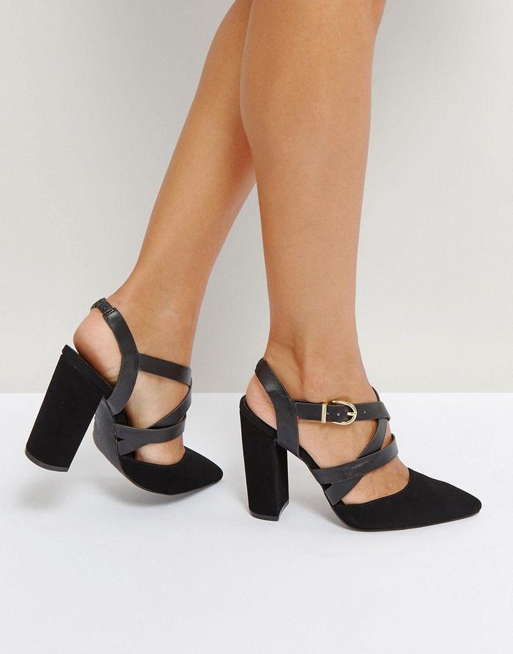 Qupid Strappy Block Heel Point Toe High Heels - Black