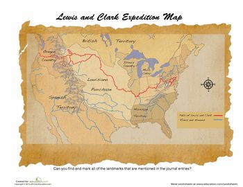 Worksheets: Lewis and Clark Map