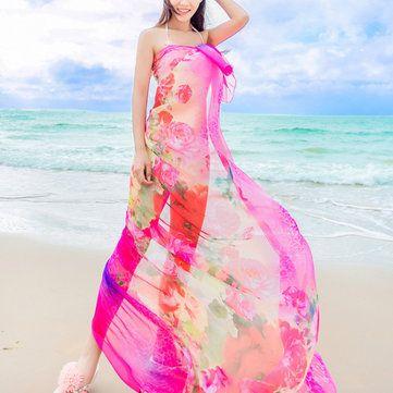 Women Sexy Silk Floral Printed Beach Towel Summer Thin Sunscreen Soft Shawls Dual Wraps at Banggood