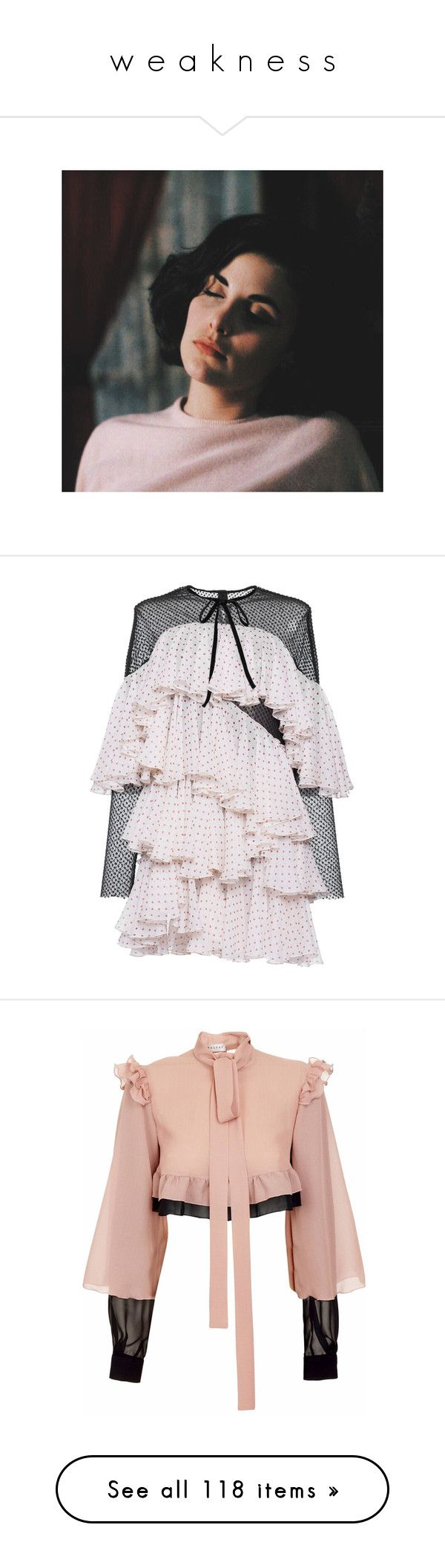 """""""w e a k n e s s"""" by littlewounds ❤ liked on Polyvore featuring dresses, pink, silk sheath dress, silk polka dot dress, pink dress, silk cocktail dress, sheath cocktail dress, shoes, sneakers and black platform shoes"""