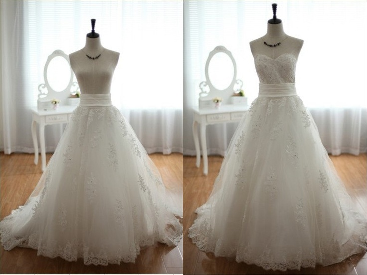 Detachable lace tulle wedding dress skirt with train by for Removable tulle skirt wedding dress