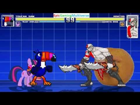 The Annoying Orange And Kratos VS Toucan Sam & Twilight Sparkle In A MUGEN Match / Battle / Fight This video showcases Gameplay of Twilight Sparkle From The My Little Pony Friendship Is Magic Series And Toucan Sam The Mascot For Froot Loops Breakfast Cereal VS Kratos From The God Of War Series And The Annoying Orange In A MUGEN Match / Battle / Fight