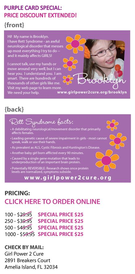 The Purple Card - Rett Syndrome Awareness..need to get some for Alicia...