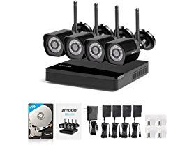 The Zmodo wireless camera system is a 4 camera monitoring solution for your home or business. Setup is as simple as downloading the free Zmodo App, creatin