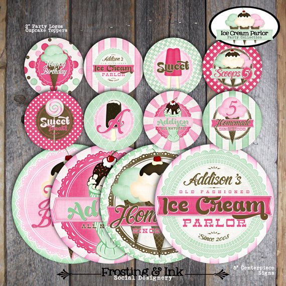 Ice Cream Party  Ice Cream Parlor Birthday  by frostingandink, $16.00