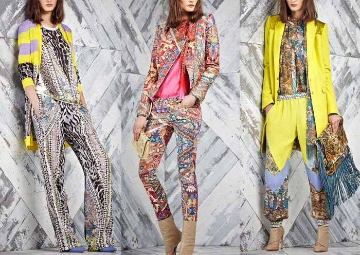 Just Cavalli – Pre Fall 2014-Persian and Turkish Inspiration – Pattern and Plain Constructions – Mashed Up Tapestry Patterns – Traditional Kilim Rug Prints – Animal Print Panels