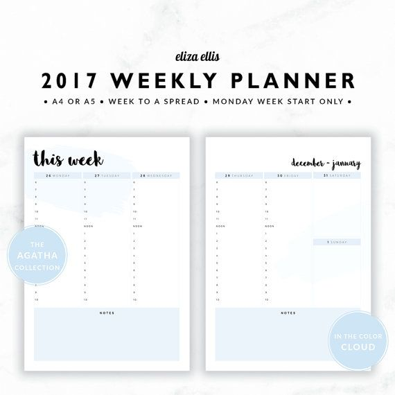 2017 WEEKLY PLANNER / A4 Weekly Planner / A5 Weekly Planner / Printable Planner / Planner Inserts / The Agatha Planners in Cloud / 411