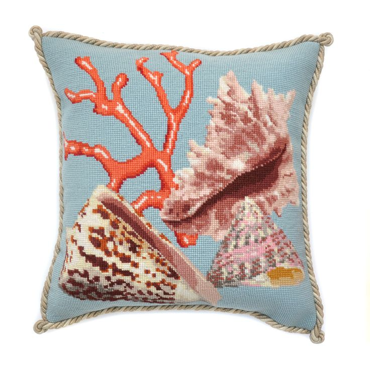 Hand needlepointed luxury pillow featuring Shells Red Coral on Duck Egg Blue background. Design stitched in 100% wool. Moire style backing fabric.