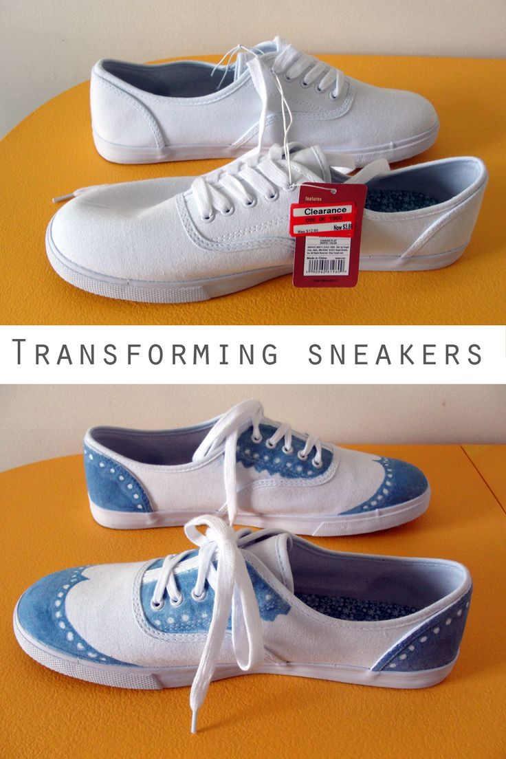 transforming white sneakers shoes http://thethriftyginger.com/2013/02/18/transforming-white-sneakers/