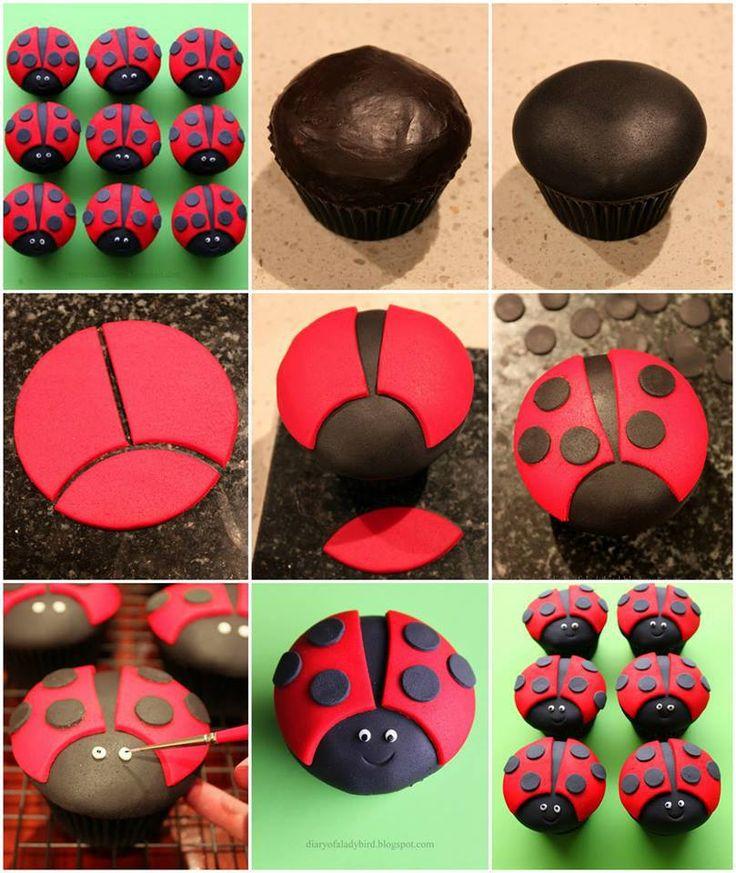 DIY Lieveheersbeestje cupcake - DIY ladybug cupcakes