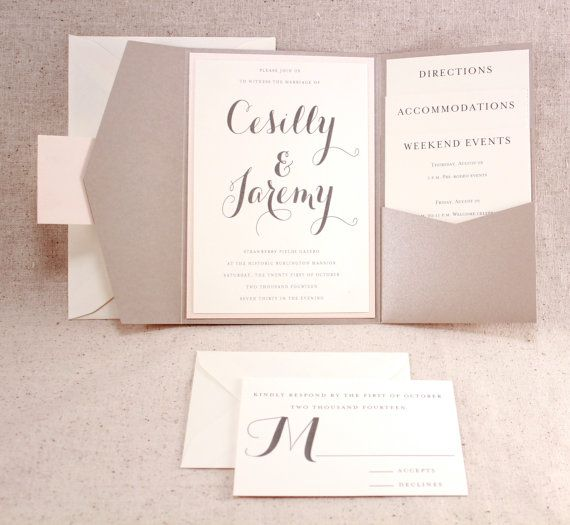 Graham cracker brown but nice folder Wedding Invitation Set Sophisticated elegance by WeddingMonograms