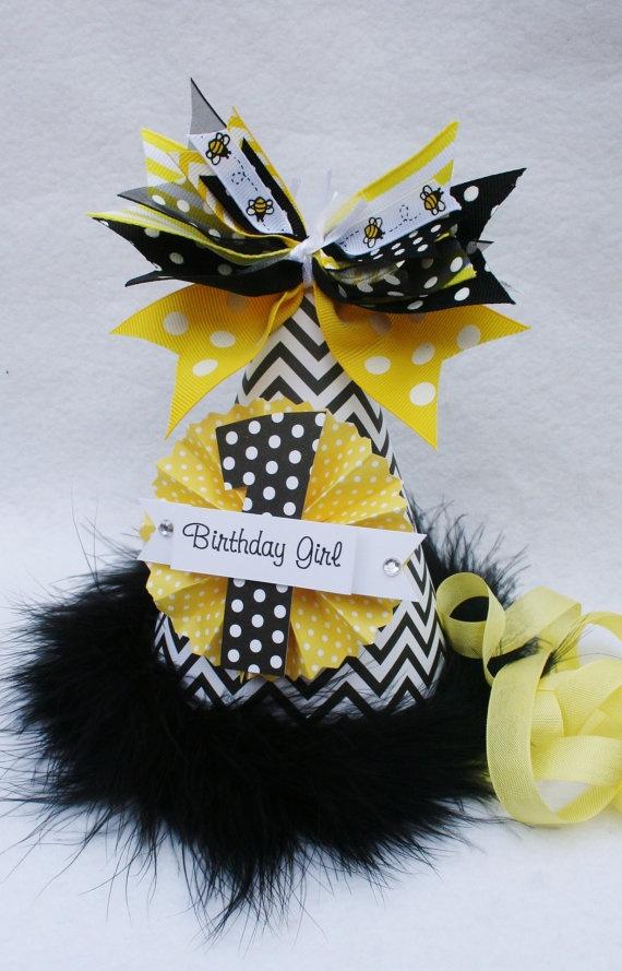 Chevron Bumble Bee Birthday Party Hat