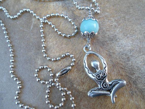 Amazonite Light Blue Gemstone Pendant by SacredSymbolStudios