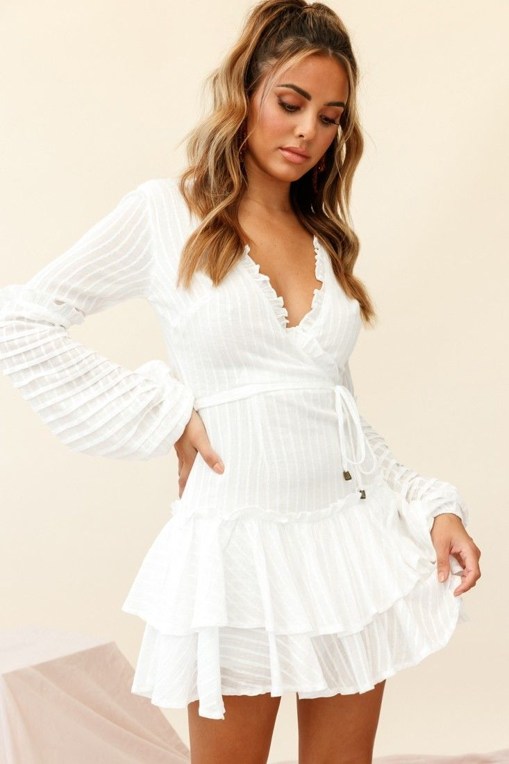 Neve Balloon Sleeve Layered Ruffle Hem Dress White White Dress Ruffle Hem Dress Hem Dress [ 1100 x 733 Pixel ]