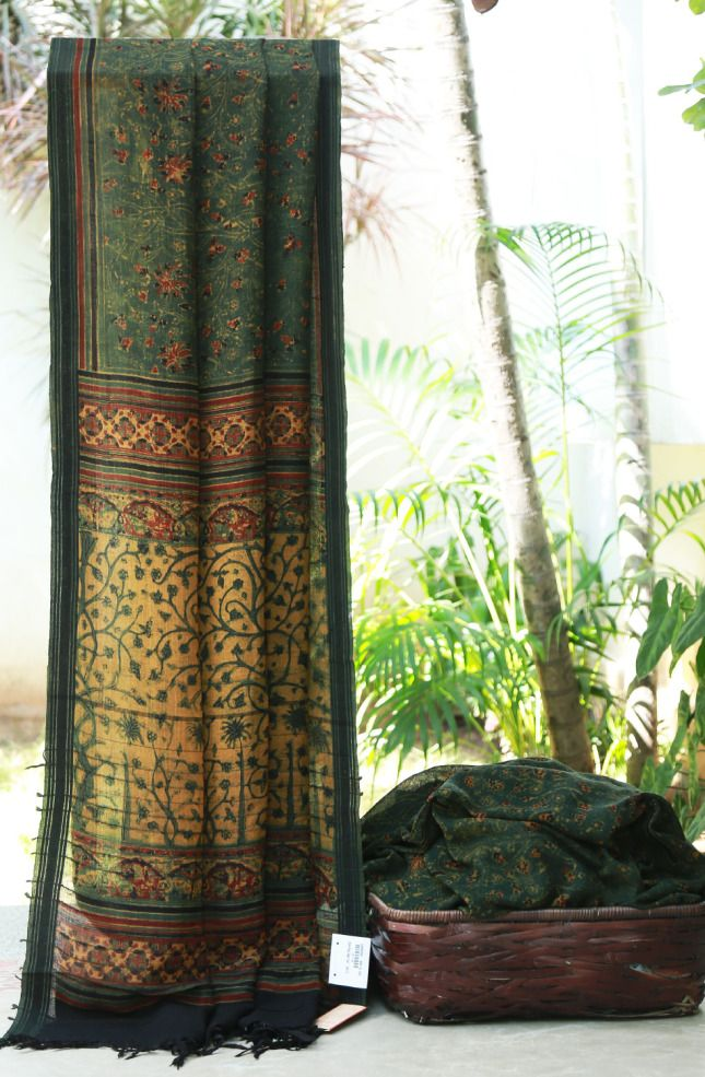 Pracheen Ajrak Printed Matka Silk | Lakshmi