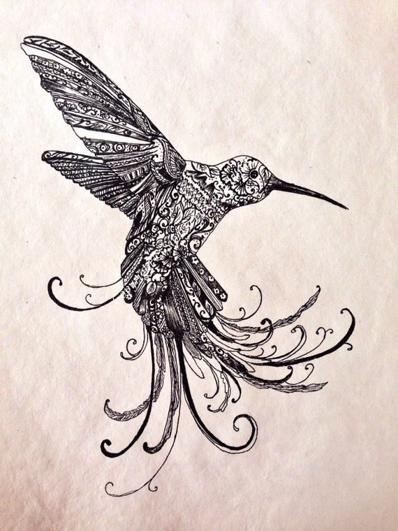 Humming bird drawing on Etsy, £20.00