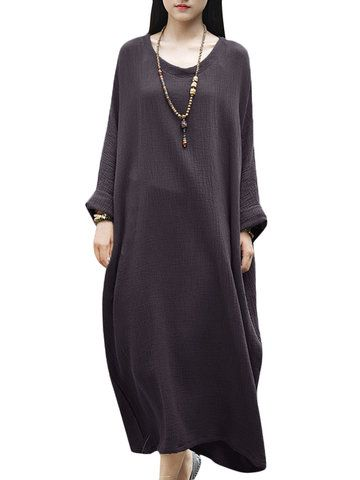 Vintage Solid Loose Soft Batwing Long Sleeve V Neck Women Robe Dress