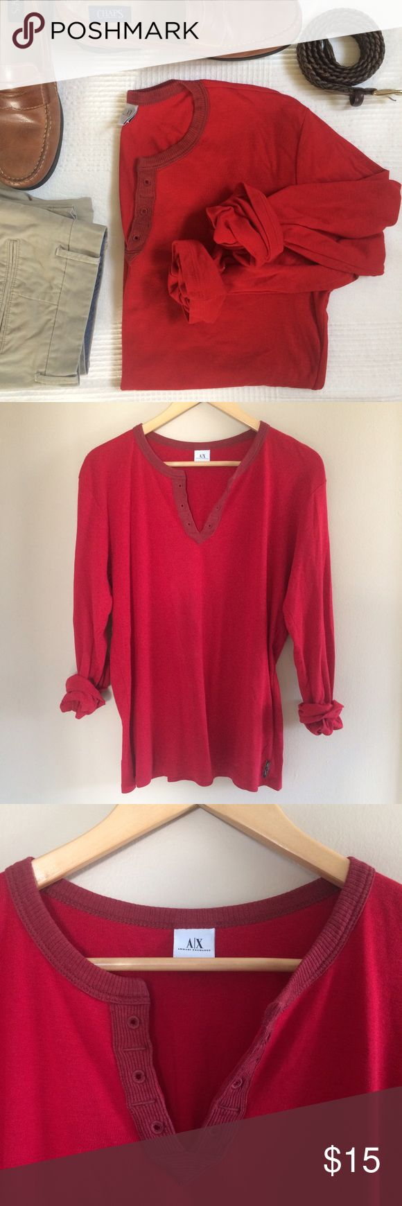 MEN's Armani Exchange Long Sleeve T-Shirt Red Red henley style long sleeve tee! Pima Cotton and Lyocell. bundle and save! Armani Exchange Shirts Tees - Long Sleeve