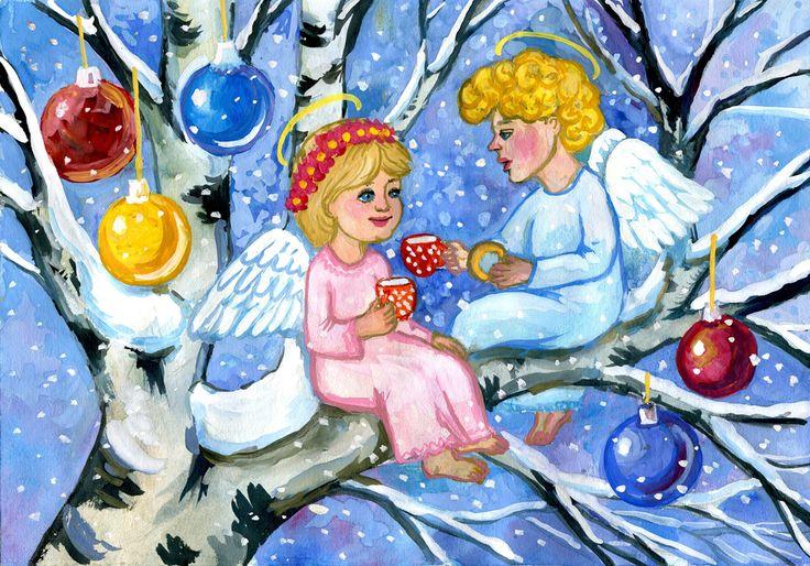 Рождественская открытка нарисованная детьми