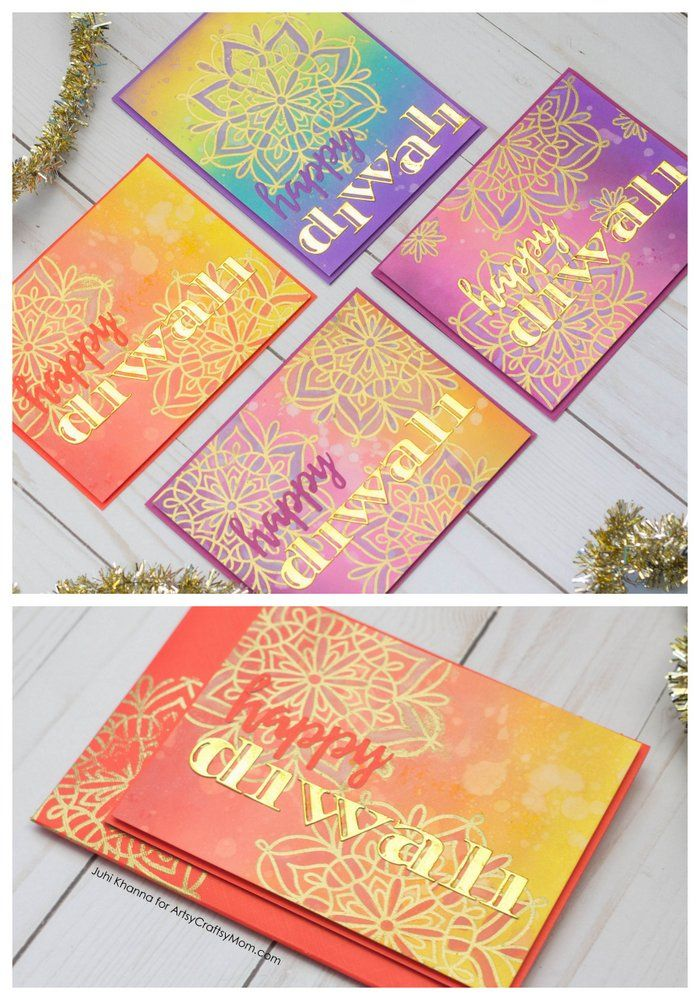 Recreate your Childhood Diwali Memories with these colorful Diya and Rangoli Inspired Diwali Cards that kids can Make at Home. via @artsycraftsymom1