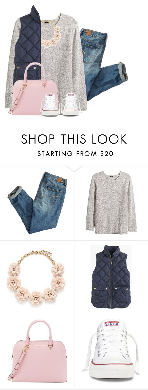 """""""Still Cold Outside..."""" by annarodgers ❤ liked on Polyvore featuring American Eagle Outfitters, H&M, J.Crew, Michael Kors and Converse"""