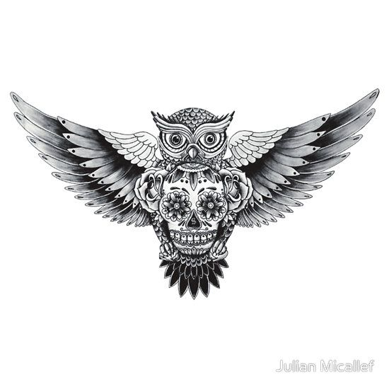 Vintage+Owl+Tattoo | Sugar Skull Owl Tattoo Sugarskull owl by julian
