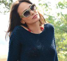 pull marin tricoté au point mousse - explications gratuites