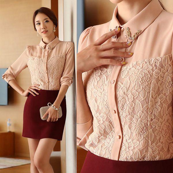 Venda quente coreana roupas! 2014 charme senhora chiffon branco camisas tamanho s-2xl carreira mulheres rendas moda blusa d1363 39.07