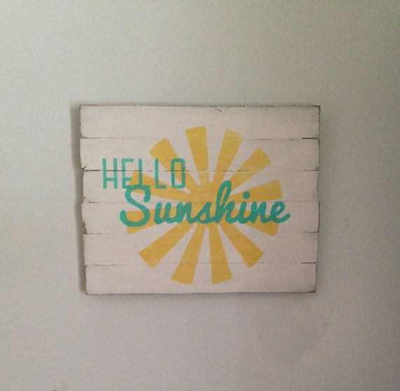 Rustic wood sign  Hello Sunshine  Spring by BeautifulMessCreates