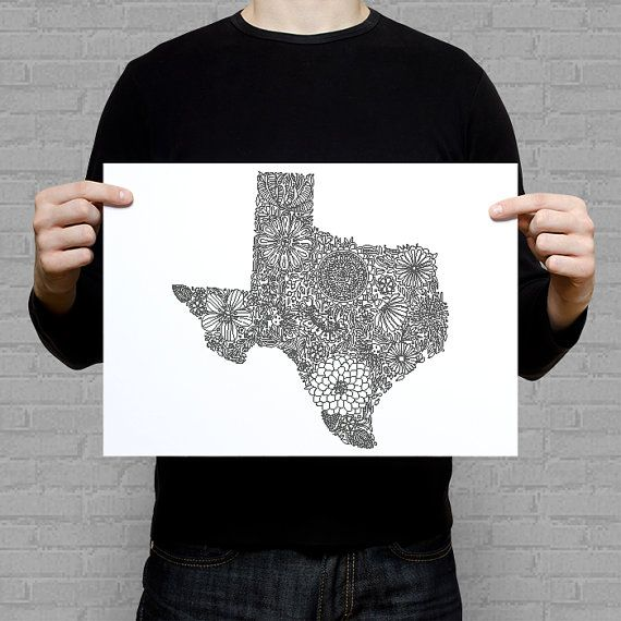 Coloring page of Texas in size of A4 (approx. 8x11 inch). The state shape is…