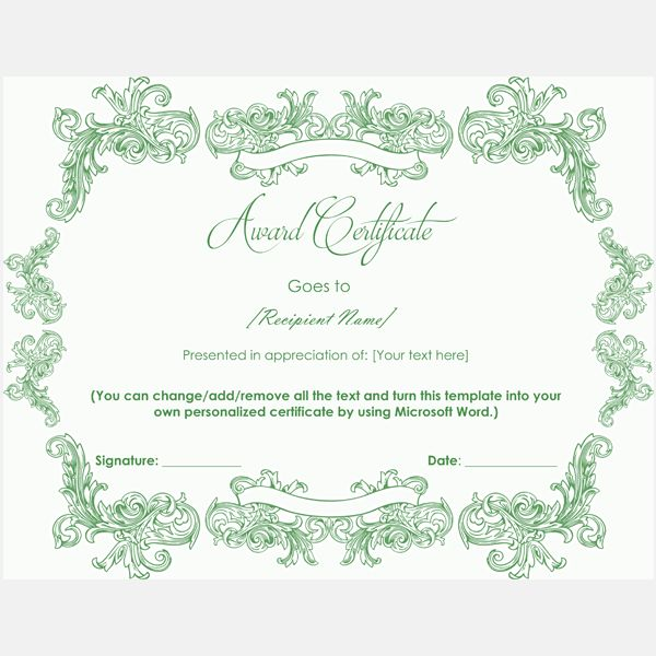 99 best Award Certificate Templates images on Pinterest Award - award certificate template microsoft word