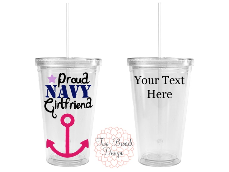 $12 Personalized Proud Navy Girlfriend Tumbler. Show your support anywhere you go with this personalized tumbler. #navygirlfriend www.twobroadsdesign.com