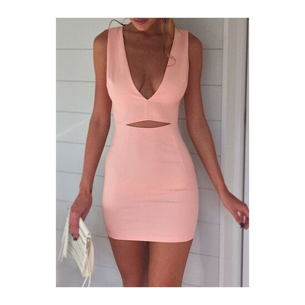 Pink Sleeveless Hollow Waist V Neck Mini Dress ($21) liked ...