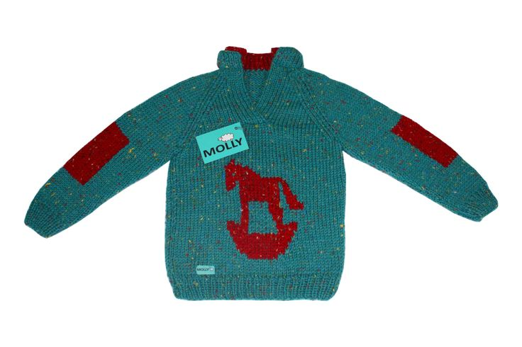 "Turquoise sweater for 4,5-5 years old boy ""rocking horse"" EU size 128 by MollyTheSheep on Etsy"