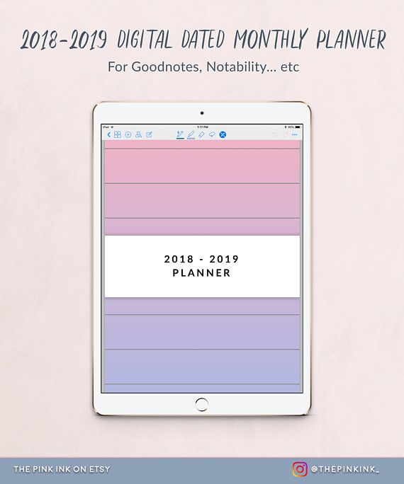 2018 - 2019 Dated Monthly planner for Goodnotes, vertical planner