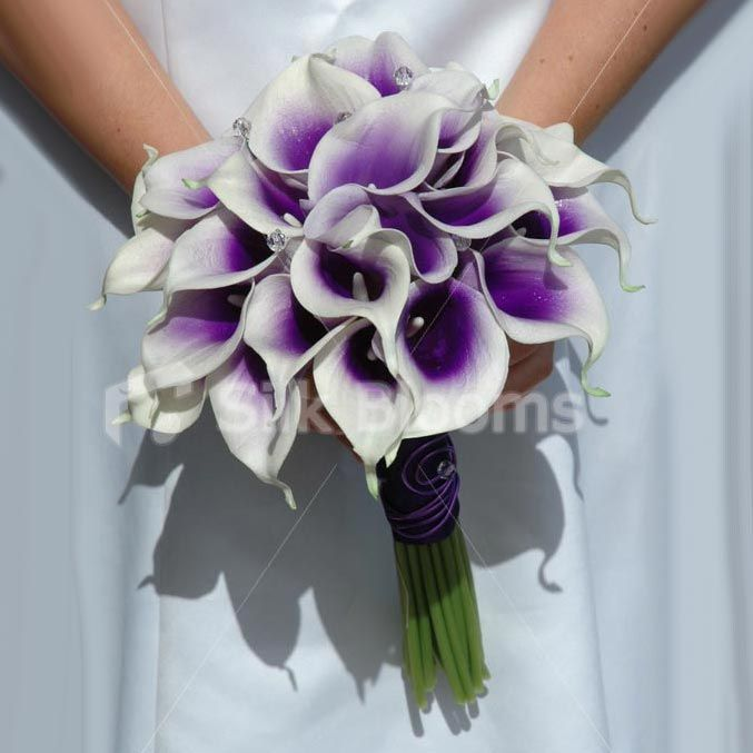 Purple Picasso Calla Lily Wedding Bouquet for the bridesmaids