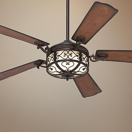 This Casa Vieja® fan from the Hermitage Collection has a golden forged finish with all-weather blades, making it one of the best outdoor ceiling fans.