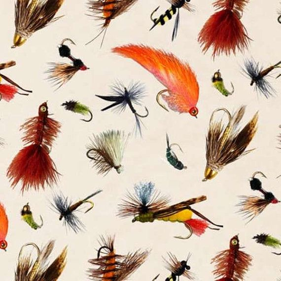Elizabeth's Studio fabric TROUT FISHING LURES by Fabric313 on Etsy