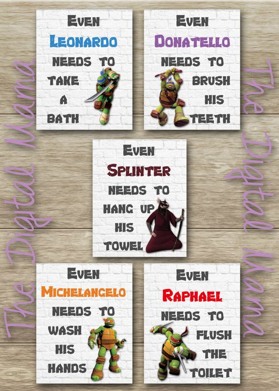 INSTANT DOWNLOAD Ninja Turtles Bathroom Art by TheDigitalMama