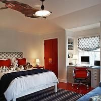 Kristen Panitch Interiors - boy's rooms - built in desk, boys desk, boys built in desk, kids desk, kids built in desk, red doors, glossy red doors, red desk chair, red eames management chair, red floors, basketball themed room, basketball themed boys bedroom, red nightstands, Eames Aluminum Management Chair,