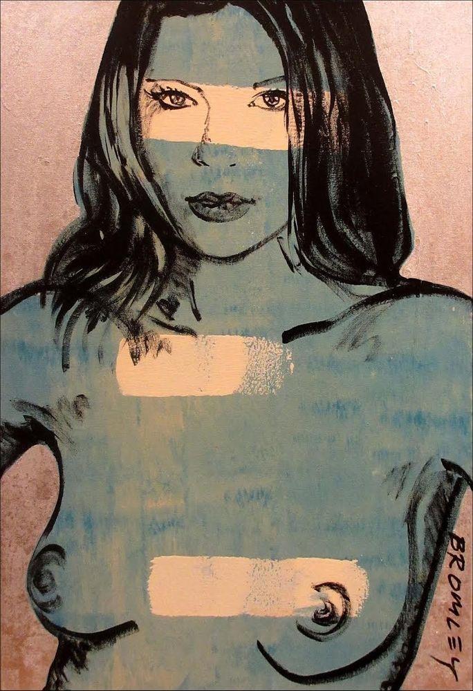 DAVID BROMLEY Nude Polymer & Silver Leaf on Canvas 90cm x 60cm