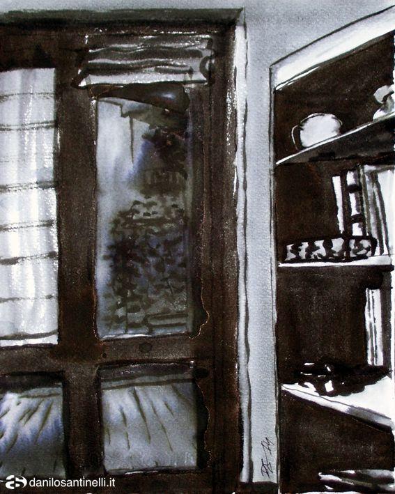 "Danilo Santinelli ""Interior with window"" ink on paper 25x31cm"